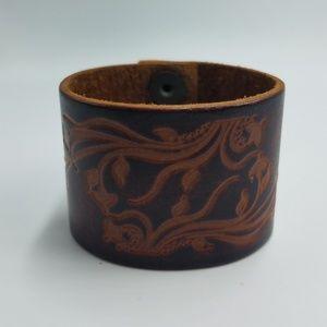 Treaty Leather Tooled Floral & Vine Cuff Bracelet